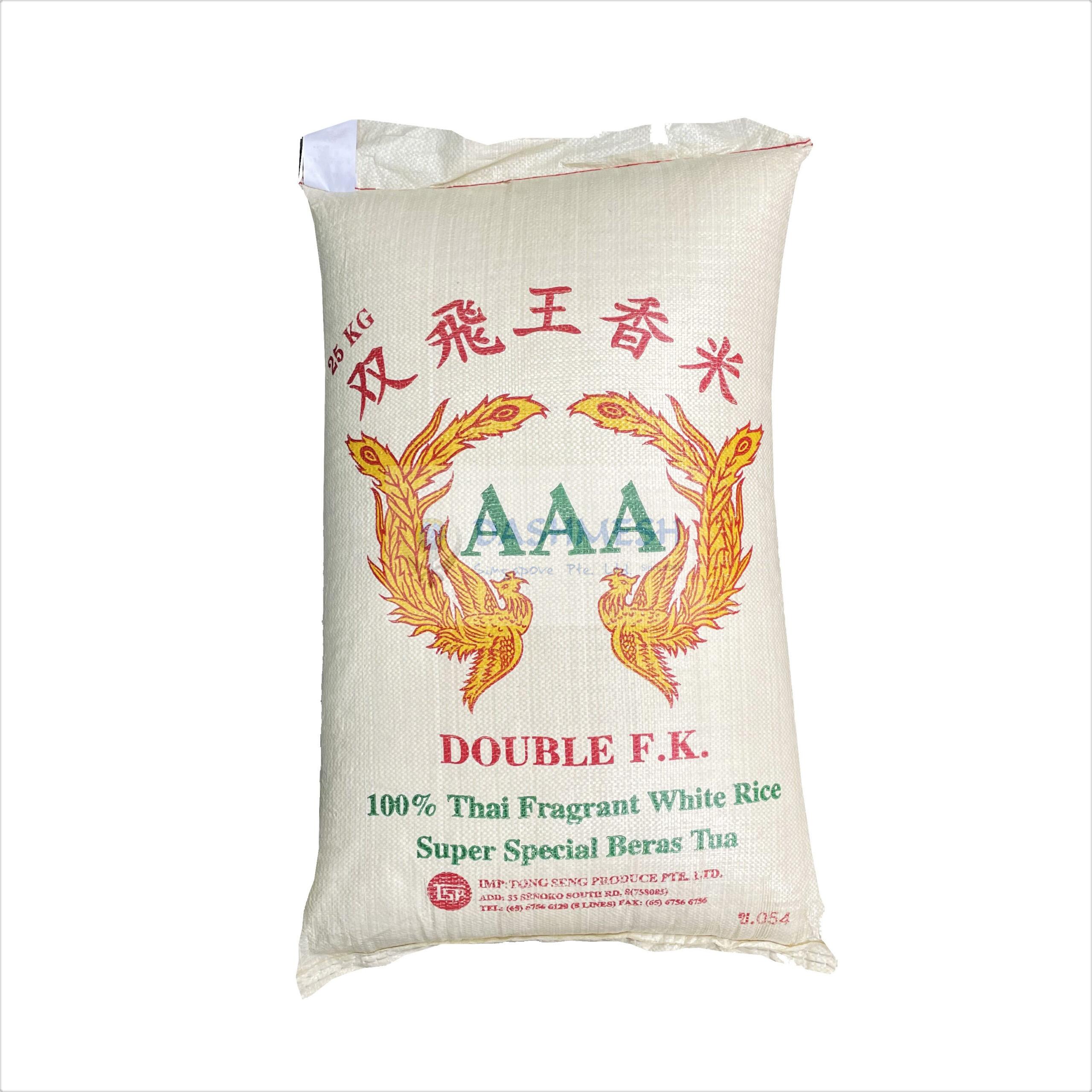 Double F.K AAA Thai Fragrant White Rice 25Kg Bag